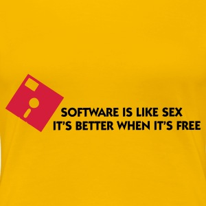 Hellrosa Software is like Sex 1 (2c) T-Shirts - Frauen Premium T-Shirt