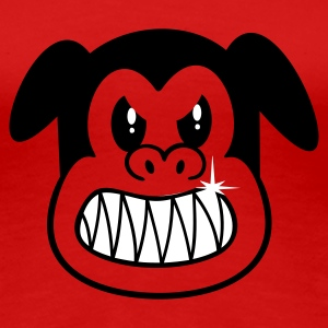 Rood boze hond / angry dog (2c) T-shirts - Vrouwen Premium T-shirt