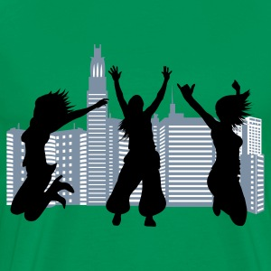 Moss green citybackground silhouettes Men's T-Shirts - Premium-T-shirt herr