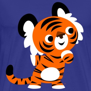 Royal blue Cute Curious Cartoon Tiger by Cheerful Madness!! Men's T-Shirts - Men's Premium T-Shirt