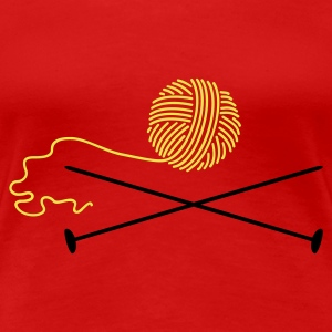 Red Wollknäuel mit Nadeln / wool 'n knitting needle (2c) Women's T-Shirts - Women's Premium T-Shirt