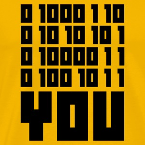 Giallo FUCK YOU - Binary code T-shirt - Maglietta Premium da uomo