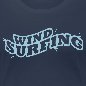 Navy Windsuring - surfen Typo Outline T-Shirts - Frauen Premium T-Shirt