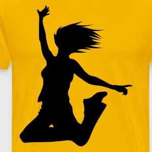 Yellow silhouette woman jump Men's T-Shirts - Men's Premium T-Shirt
