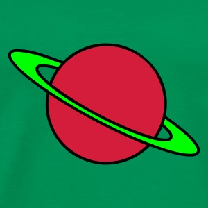 Grøn Planet Saturn T-shirts - Herre premium T-shirt