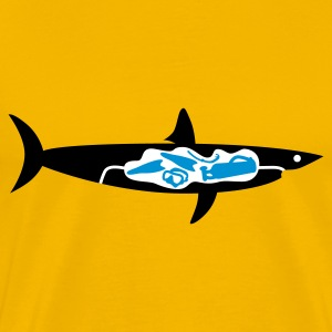 Gelb Shark meets Diver © T-Shirts - Premium T-skjorte for menn
