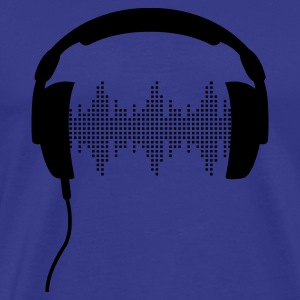 blue DJ headphone rhytm frequency equalizer Men's T-Shirts - Men's Premium T-Shirt