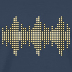 Navy digital waveform frequency grid matrix music square Men's T-Shirts