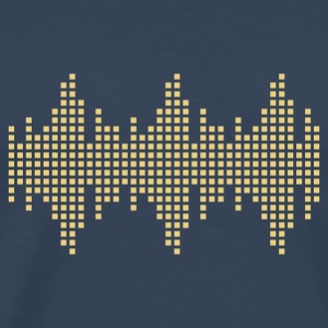 Navy digital waveform frequency grid matrix music square Men's T-Shirts - Men's Premium T-Shirt