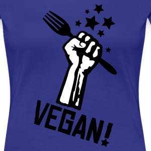 Womens Shirt 'rising fist VEGAN!' GoDoT - Women's Premium T-Shirt