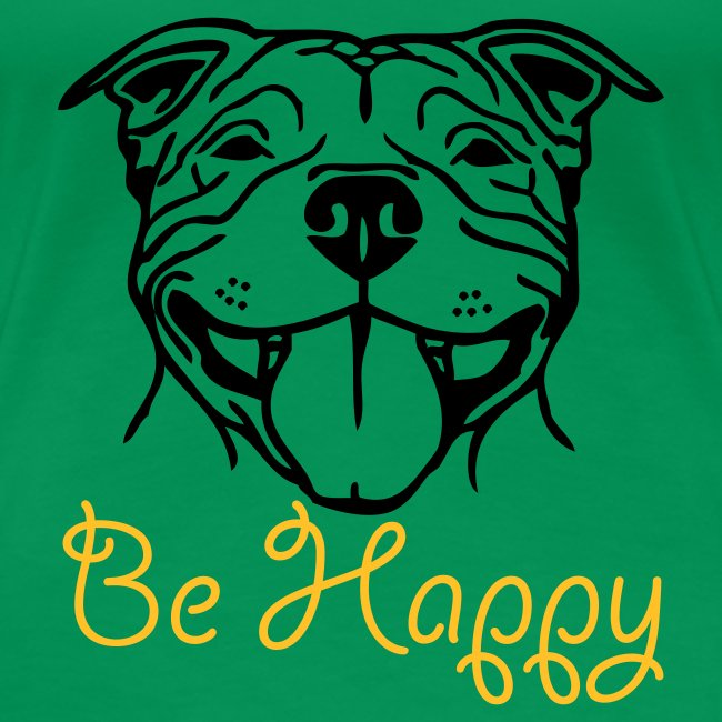 Womens Staffy Smile 'Be Happy' T-Shirt