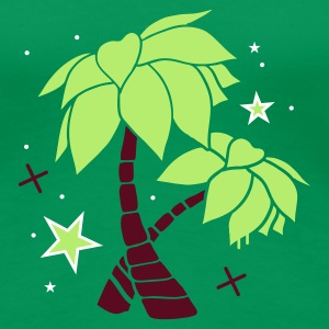 Grass green Two palm trees on the beach Women's T-Shirts - Women's Premium T-Shirt