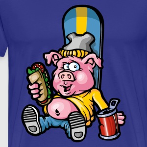 Pig and snowboard - T-shirt Premium Homme