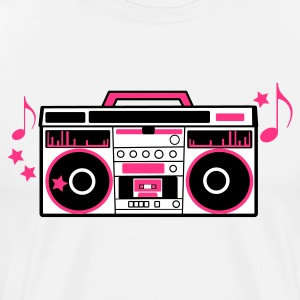 White 80s cassette player dj boom box with funky musical notes Men's T-Shirts - Men's Premium T-Shirt