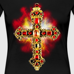 Kreuz Gold Edelsteine / Cross Jesus Christus Fraue - Frauen Premium T-Shirt