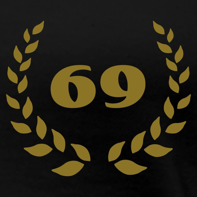 schwarzes Girlieshirt Lorbeerkranz 69 gold farbener Druck