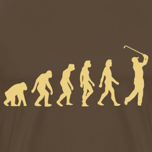 Gråbrun Evolution of Golf (1c) T-shirts - Herre premium T-shirt