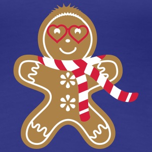 Gingerbread man with heart glasses and scarf T-Shirts - Women's Premium T-Shirt