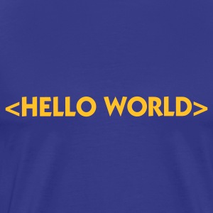 Divablå Hello World (1c) T-skjorter - Premium T-skjorte for menn