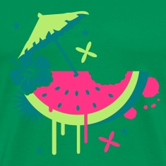 Forest green Melon with cocktail umbrella and hibiscus flower Men's T-Shirts