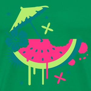 Forest green Melon with cocktail umbrella and hibiscus flower Men's T-Shirts - Men's Premium T-Shirt