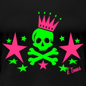 Skull King, King, Queen, Bones, Knochen, Crown, Krone, Sterne, Stars, Geschenke, Rock, Emo, Pop, Disco, Dance, Music - eushirt.com - T-shirt Premium Femme
