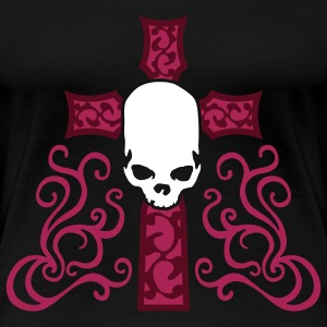 tribal_skull_cross_d_3c_black Camisetas - Camiseta premium mujer