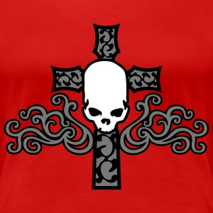 tribal_skull_cross_a_3c T-skjorter - Premium T-skjorte for kvinner