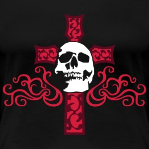 tribal_skull_cross_c_3c_black Camisetas - Camiseta premium mujer
