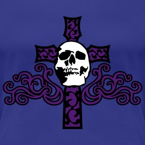 tribal_skull_cross_b_3c T-shirts - Vrouwen Premium T-shirt