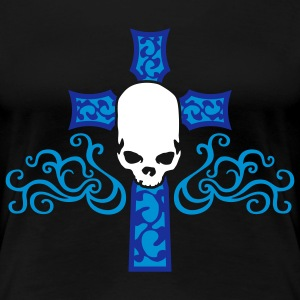 tribal_skull_cross_b_3c_black T-shirts - Vrouwen Premium T-shirt