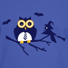 Blue/white owl and bird sitting on a branch Men's T-Shirts