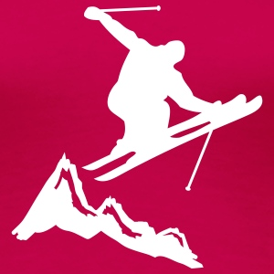 ski jump with mountains T-shirts - Dame premium T-shirt