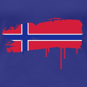 Norwegian flag painted with a brush stroke  T-Shirts - Women's Premium T-Shirt