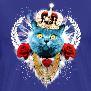 Kongeblå Blue Cat The King - kat krone laurbær roser T-shirts - Herre premium T-shirt