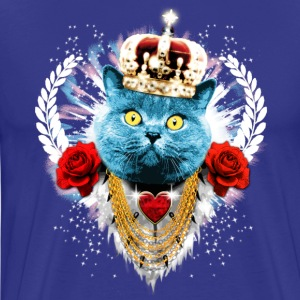 Blue royal Gatto blu La King - cat corona di alloro rose Magliette - Maglietta Premium da uomo