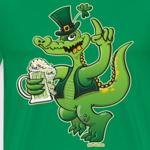 Saint Patrick's Day Crocodile Drinking Beer T-Shirts - Men's Premium T-Shirt