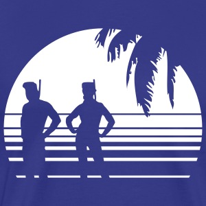 BEACH DIVING SUNSET PALME 1C T-shirts - Premium-T-shirt herr