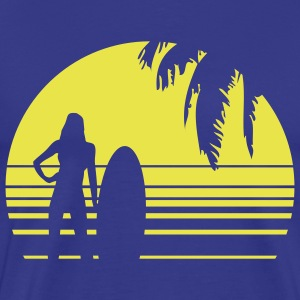 BEACH SURFING GIRL PALME 1C T-shirts - Herre premium T-shirt