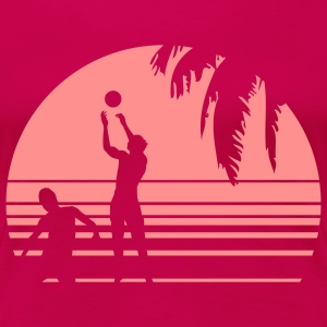 BEACH VOLLEYBALL SUNSET PALME 1C T-shirts - Dame premium T-shirt
