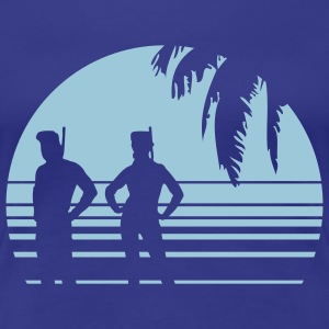 BEACH DIVING SUNSET PALME 1C T-shirts - Dame premium T-shirt