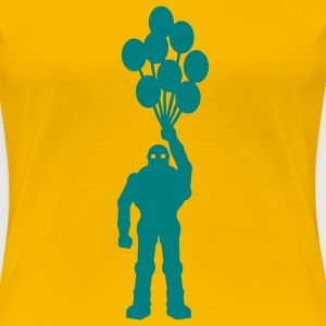 Anti-krig tema, retro robot med ballon ballon science fiction-motiv stencil T-shirts - Dame premium T-shirt