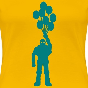 Anti-war temat retro robot med ballongens ballongens science fiction-motiv stencil T-shirts - Premium-T-shirt dam