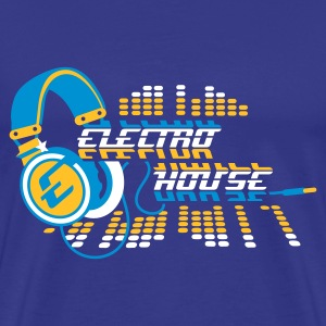 Royal blue Gold  Headphones Electro House Design Men's T-Shirts Men's T-Shirts - Men's Premium T-Shirt