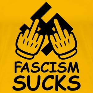 fascism_sucks_comic_gloves_1c T-shirts - Vrouwen Premium T-shirt
