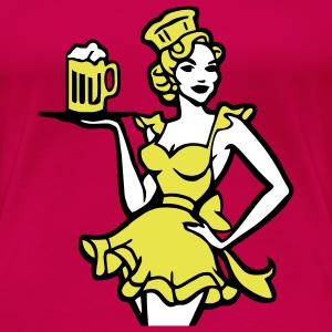 fesches Dirndel girl with beer one free beer. T-Shirts - Women's Premium T-Shirt