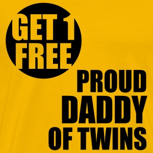 GET 1 FREE T-Shirt - Proud Daddy of Twins Black - Men's Premium T-Shirt