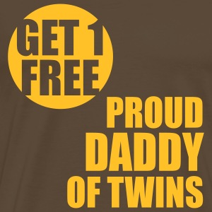 GET 1 FREE T-Shirt - Proud Daddy of Twins Yellow - Men's Premium T-Shirt