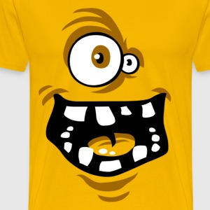 Funny Monster T-shirt yellow - Mannen Premium T-shirt