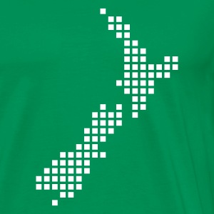 Mosgrøn New Zealand pixel map T-shirts - Herre premium T-shirt